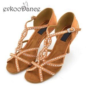 2017 Ladies Diamond Latin Salsa Ballroom 8cm Heel Height Dancing Shoes women latin dance shoes Rhinestones for Ladies NL023