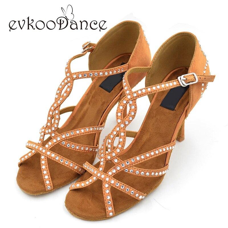 2017 dames diamant Latin Salsa salle de bal 8 cm hauteur de talon chaussures de danse femmes chaussures de danse latine strass pour dames NL023