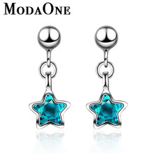 Small Cute Blue Crystal Star 925 Sterling Silver Stud Earrings For Women Korea Style Fashion Ladies Girl Jewellery(China)