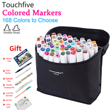 Touchfive Colors Alcohol Markers Sketch Marker Pen Set Dual Tip Coloring Drawing for Anime Interior Comics Art Supplies Colori