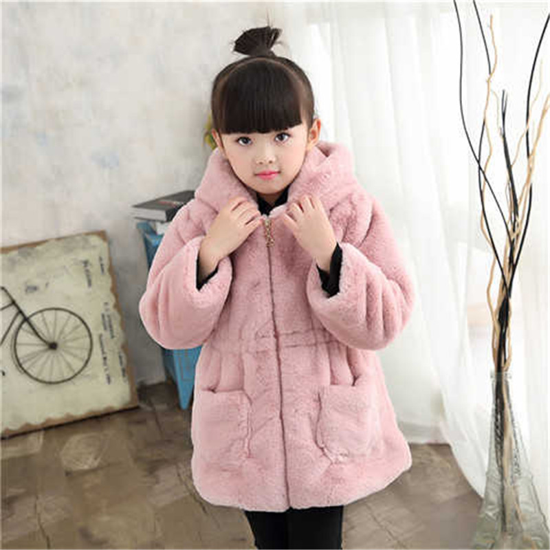 Thick Down Baby Girls Coats 2018 Winter Artificial Fur Girl Jackets Hooded Kids Parkas Cotton Snowsuit Children Clothing 3dp050 lavensey original new children thick cotton turn down collar fashion coats for girl baby clothing free shipping
