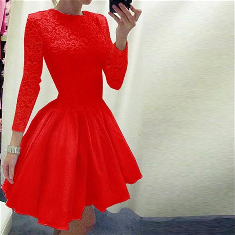 Elegant Lace Dresses Women O-Neck Long Sleeve A-Line Pleated Party Dress Femmel Fashion New Vintage Vestido Des Festa