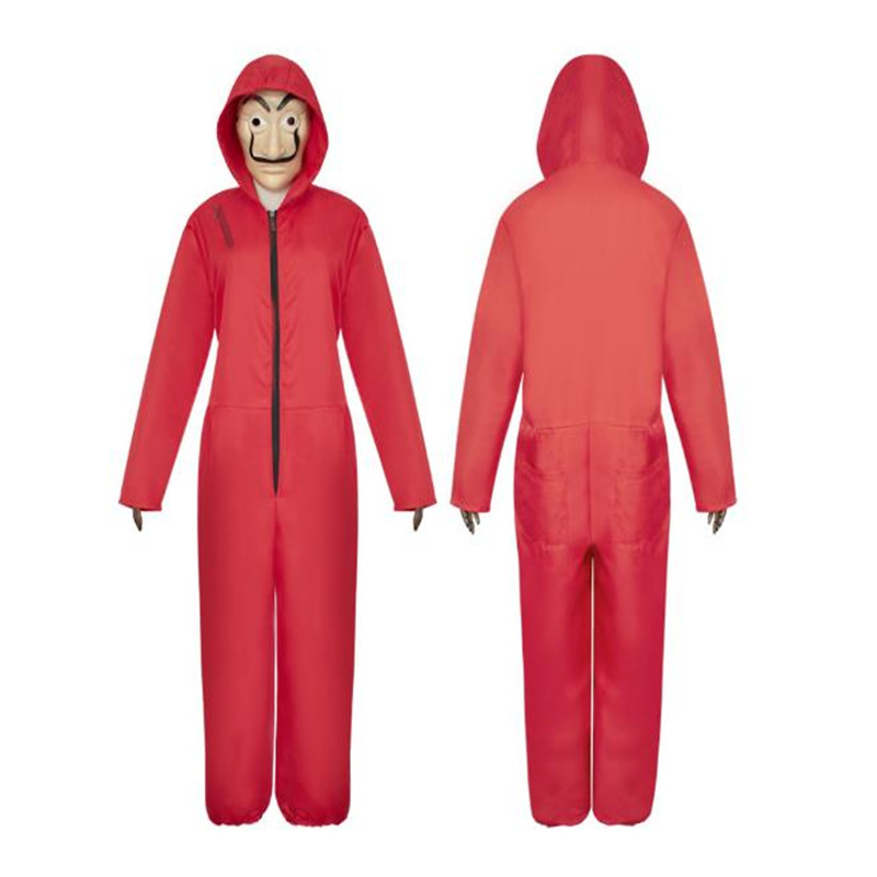 Paper House Red jumpsuits Halloween la casa de papel Cosplay clothing Mask
