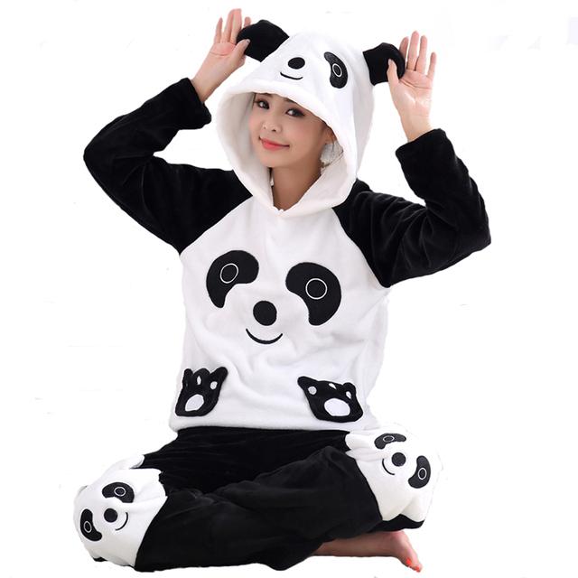 Gruesa Cálido Terciopelo de Coral Conjuntos de Pijamas Para Mujeres Otoño Pantalones ropa de Dormir de Franela Invierno Panda de la Historieta Femenina Unicornio Sudaderas Con Animales