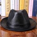 Осень зима Большой шляпе стильный кожаный овечьей шкуре кожаная шляпа мужчины fedora мужская уличная прохладный Cowboy hat hio хоп 3 цвет