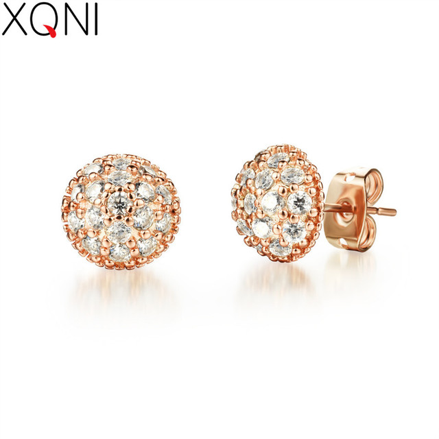 Women Delicate Gold Color Full Cubic Zircon Round Shape Stud Earrings Budget Friendly Accessories