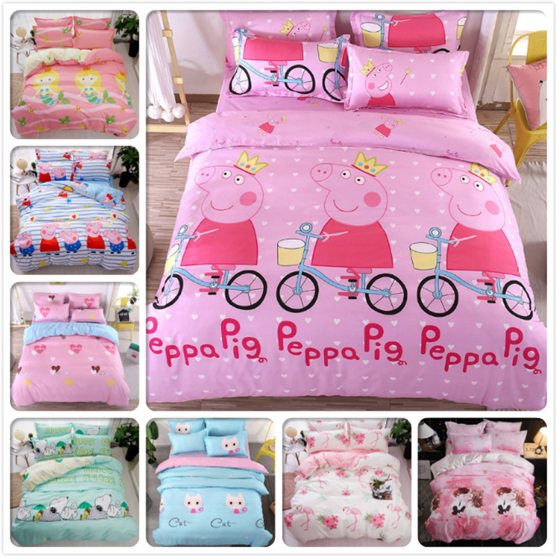 Pink Pig Pattern Duvet Cover 3/4 pcs Bedding Set Kids Cotton Bedclothes 1.2m 1.35m 1.5m Bed Linen Single Twin Full Queen Size 2m
