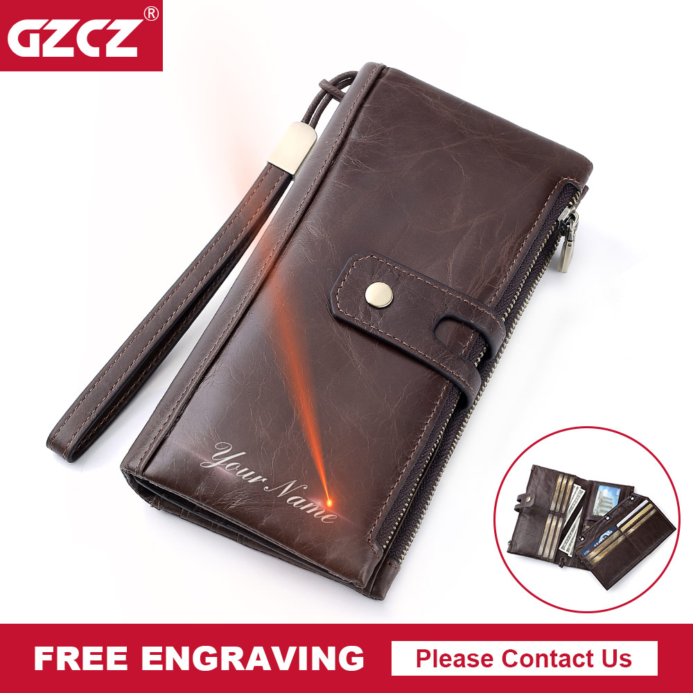 GZCZ Free Engrave Genuine Leather Men Wallet Vintage Male Clutch Purse Long Wallet Cell  ...