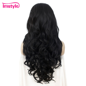 Image 5 - Imstyle Black Lace Wig Long Wavy Synthetic Lace Front Wigs For Women Heat Resistant Fiber Glueless Natural Hairline Cosplay Wig