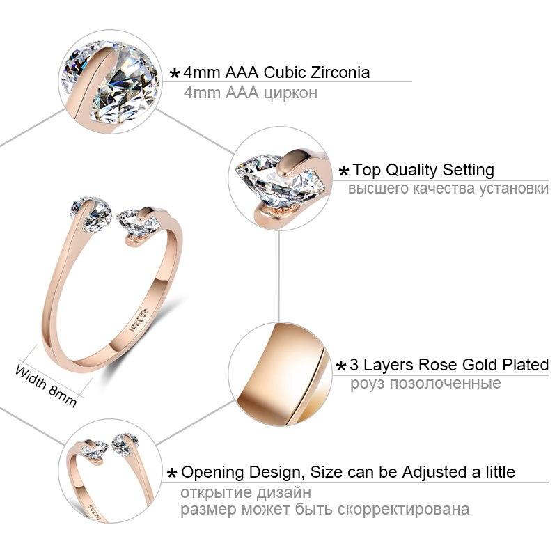 USTAR AAA Zirkon Trauringe für Frauen, die Rose Gold Farbe Kristall - Modeschmuck - Foto 2