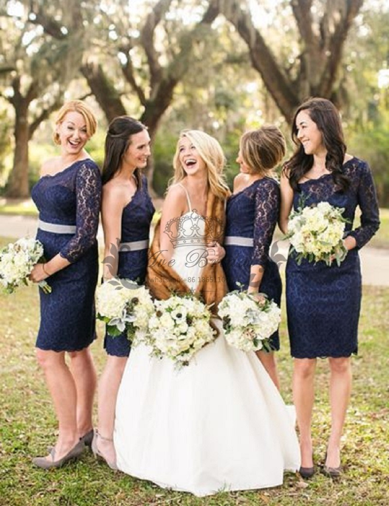 Compare prices on navy blue bridesmaid dress with lace online short navy blue one shoulder lace bridesmaid dresses with long sleeves knee length wedding guest dress ombrellifo Image collections