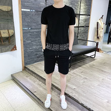 Summer Two Piece Shorts Set Men Brand Causal Beach Suits Short Sleeve 2pcs T Shirt + Shorts Fashion Tracksuit Mens Sportsuits цена