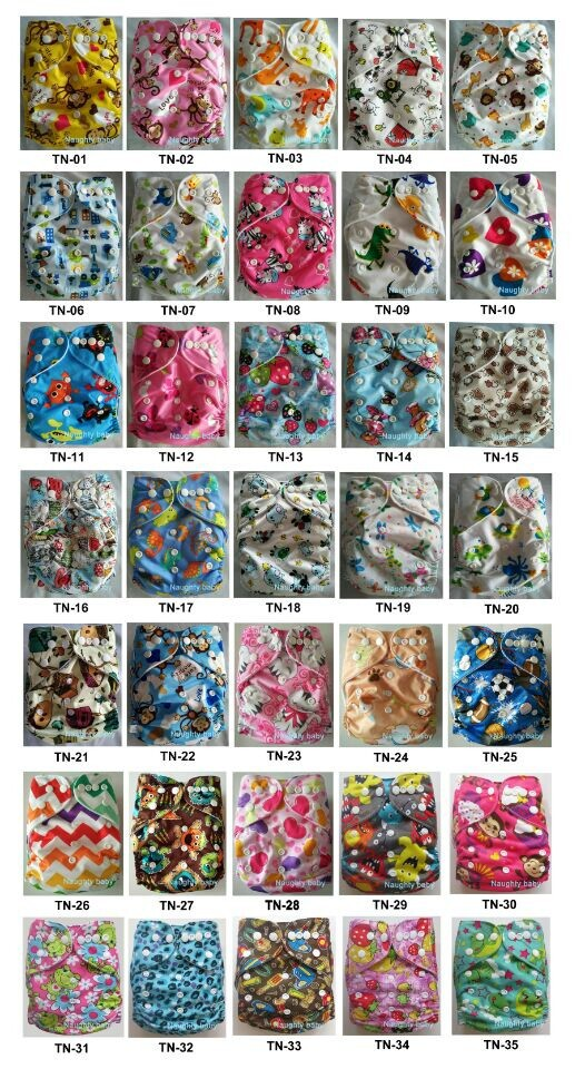 Prined Baby Infant Cloth Diapers Reusable Waterproof Nappy pocket Elastic Waist nappies Diaper With Microfiber Inserts