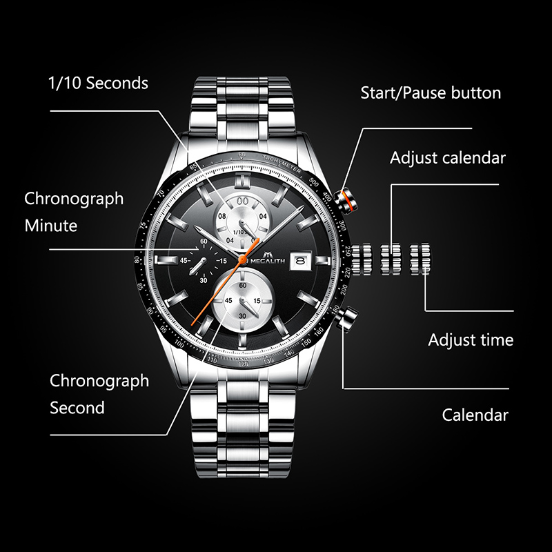 Image 3 - MEGALITH Fashion Chronograp Men's Watch Analog Quartz 24 Hour Date Watches Man Waterproof Men Sport Full Steel Wrist Watch Clock-in Quartz Watches from Watches