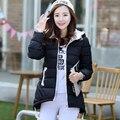 2017 Новое прибытие женщин зимние пуховики 5 цвета длинный отрезок нагрудные капюшоном тонкий теплая куртка all-матч мода корейских пальто