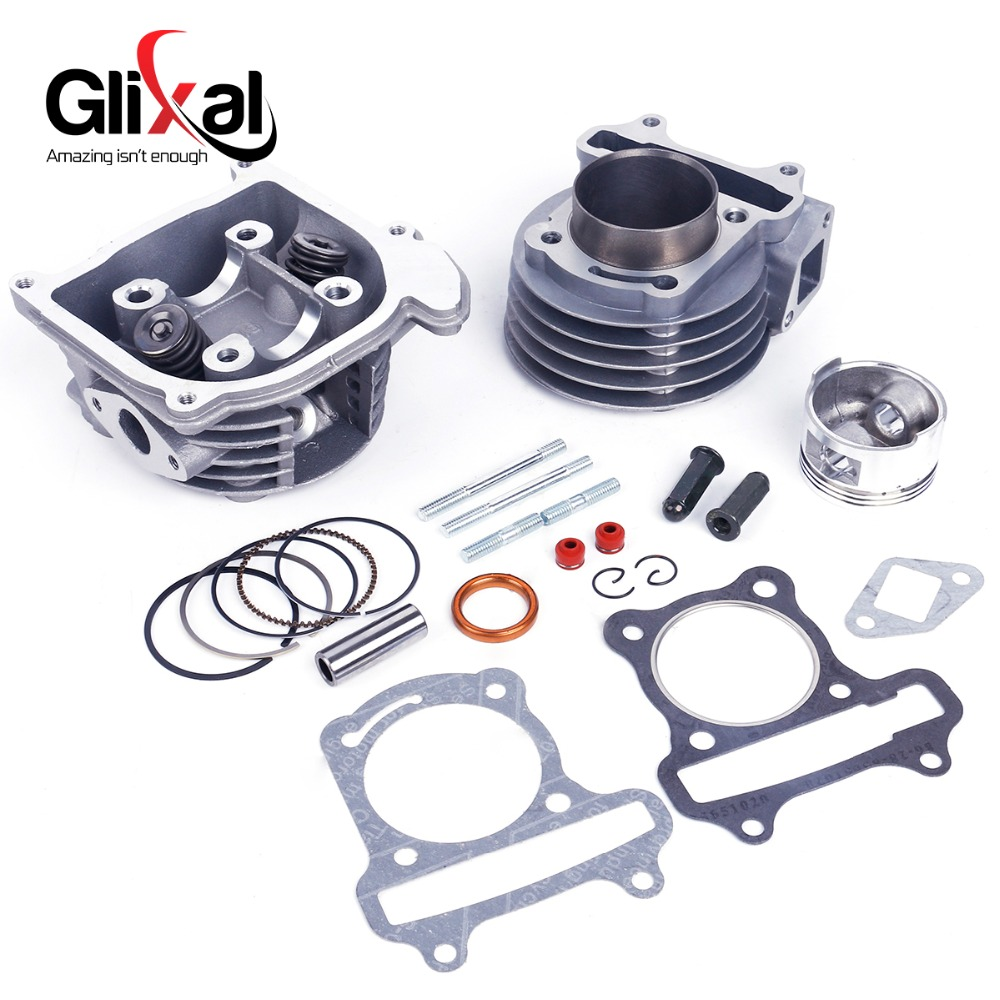 Glixal GY6 100cc 50mm Scooter Engine 4-stroke 139QMB 139QMA Moped Big Bore Cylinder Rebuild Kit Cylinder Head assy (69mm Valve) new set 47mm big bore kit cylinder piston rings fit for gy6 50cc to 80cc 4 stroke scooter moped atv with 139qmb 139qma engine