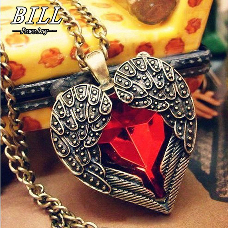 N102 Angel Wing Pendant Necklaces Red Crystal Heart