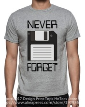 High Quality Custom Printed Tops Hipster Tees T Shirt  MenS Crew Neck Casual Short Never Forget Floppy Computer Disk Tee