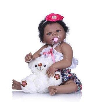 NPK 22'' reborn bebe bonecas handmade Lifelike reborn baby dolls full body vinyl silicone black skin baby doll kids toys gifts 2
