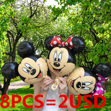 New! 8pcs/ Mini mickey mouse head foil balloons Red Minnie theme party cartoon ballons birthday party globos kid's toys