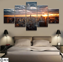 Hot Sales Without Frame 5 Panels Picture Bright Sunrise Cityscape Painting Poster Artwork Wall Art Canvas Wholesale