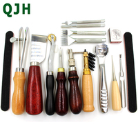 15pcs Sewing Craft DIY Handmade Tools Punch Edger Trench Device Belt Puncher Set Leather Hand Tools