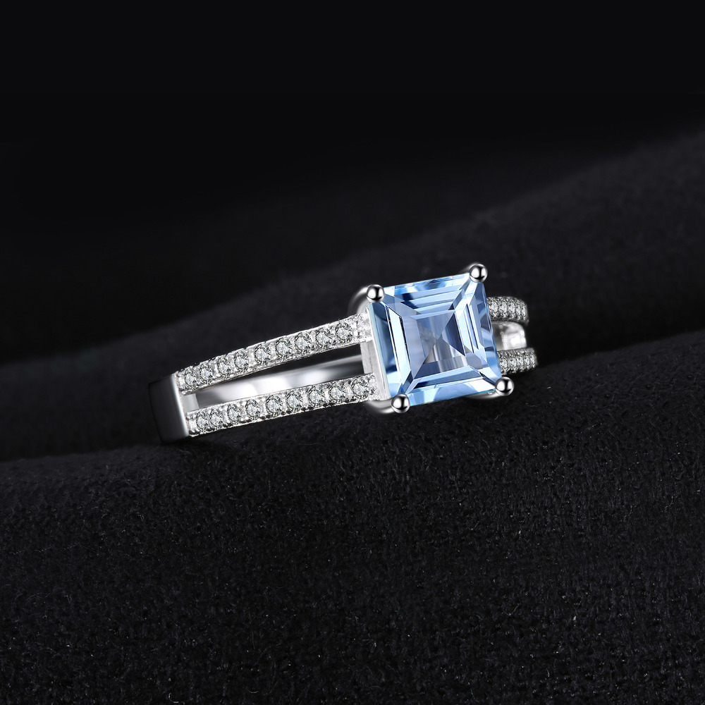 Image 3 - JewelryPalace Princess Genuine Blue Topaz Ring 925 Sterling  Silver Rings for Women Engagement Ring Silver 925 Gemstones Jewelryring  fashionring forrings for women