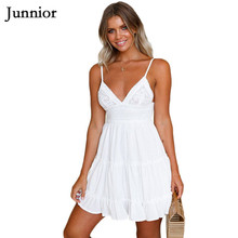 Junnior Holiday Beach Dress Women High Waist Bohemian Lace Mini Dress Female Sexy V Neck Frilled A Line Ladies Dresses Femme lace insert high neck a line mini dress