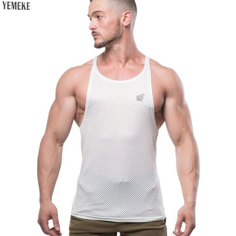 YEMEKE Cotton casual men vest gyms singlet   Tank     Tops   bodybuilding sleeveless shirt golds fitness workout   tank   Man Tanktops