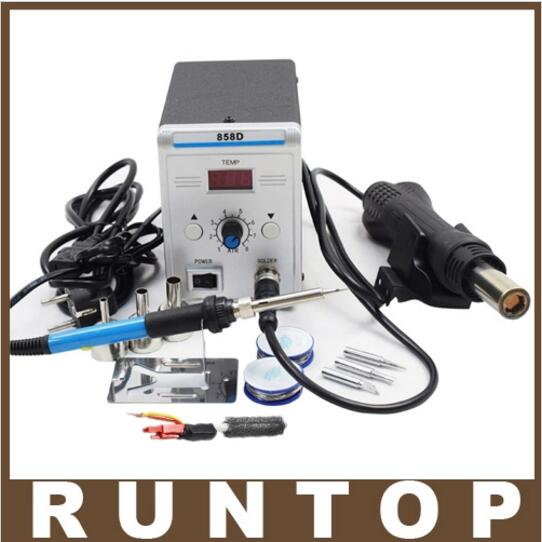 220V EU Plug  High Quality Lead-free SMD Soldering Station LED Digital Solder Iron Hot Air GUN Blowser  858D dhl free shipping hot sale 220v hakko fx 888 fx888 888 solder soldering iron station with 10 free tips 900m t