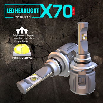 1 Set 9006 HB4 60W 7800LM X70 LED Headlight Front Lens Lamps Bulbs XHP-70 4SMD Chips Turbo Fan White 6000K Lens 120W 15600lm