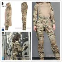 ЭМЕРСОН Тактический Военная Униформа Мультикам G3 женщина борьбе равномерное тактический Штаны с наколенниками маскировочный костюм Охота
