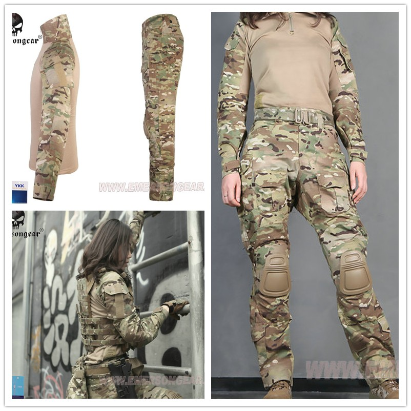 EMERSON Tactical Military uniform Multicam G3 Woman combat uniform tactical pants with knee pads camouflage suit hunting clothes цена