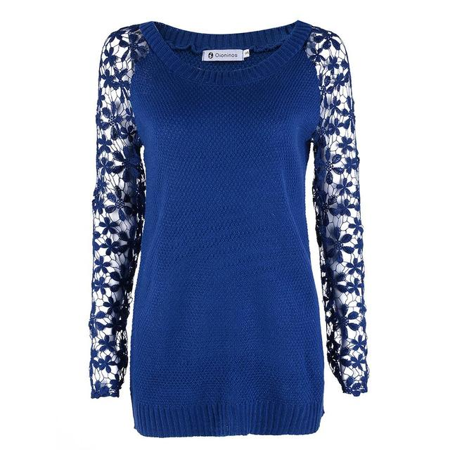 Spring Autumn Fashion Women 2016 Long Sleeve Lace Patchwork Casual Pullover Ladies Sweaters Plus Size S-XXXL 5 Color