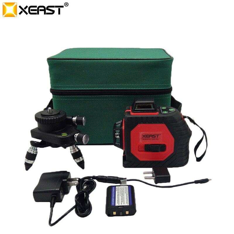 Xeast 12 linii czerwona belka 360 stopni laser krzyżowy poziom 3D do przyklejenia na ścianę instrumentu