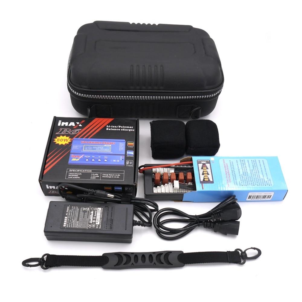 AKASO iMAX B6 LCD Screen Digital RC 80 NiMh Battery Balance Charger + XT60 / T Plug Adaptor Board 2-6S + 12v 6A Power Adapter