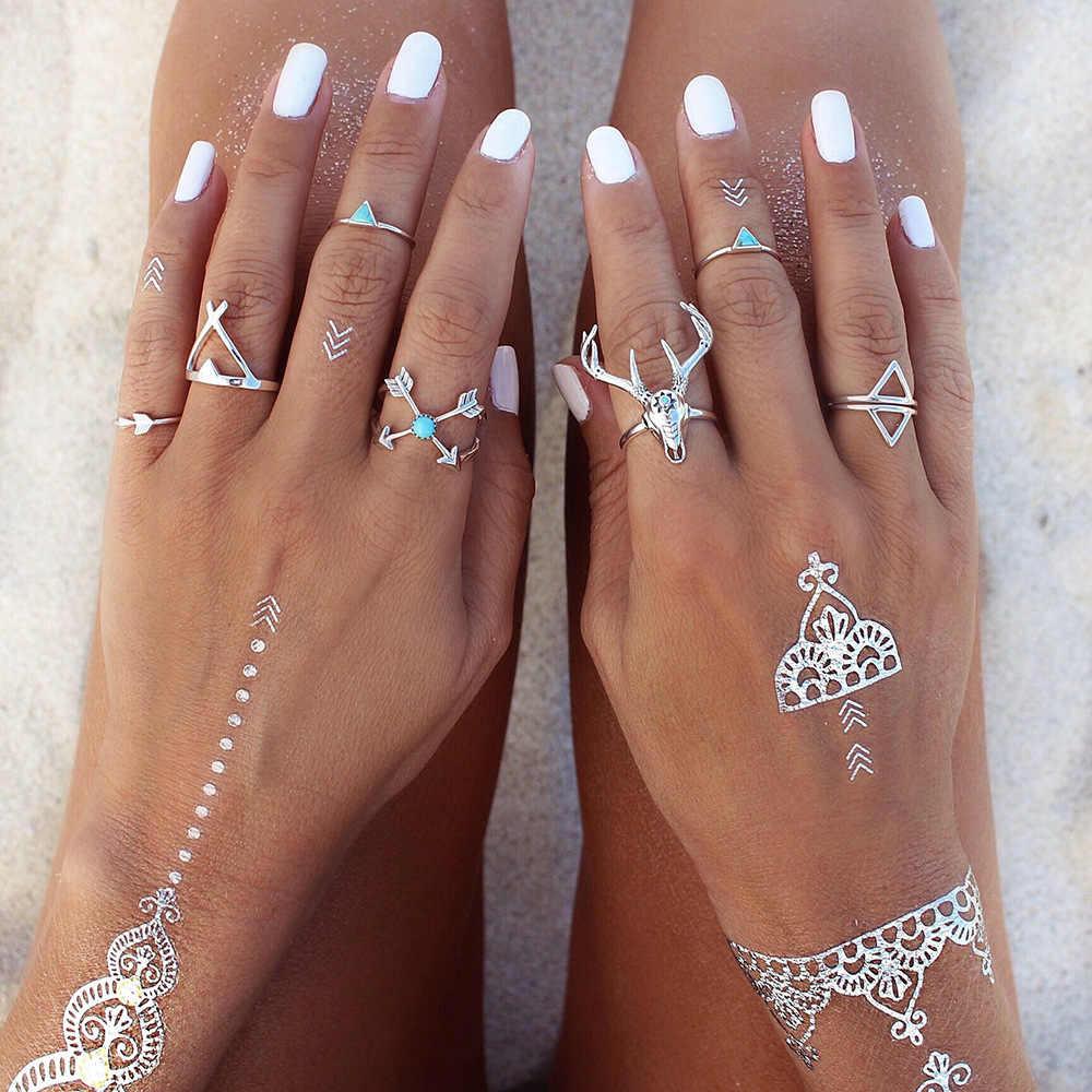 7ชิ้น/เซ็ตวินเทจGypsiesชายหาดกวางรักหัวไฟหยดสามเหลี่ยมลูกศรร่วมMidiแหวนนิ้วตั้ง8CRD41