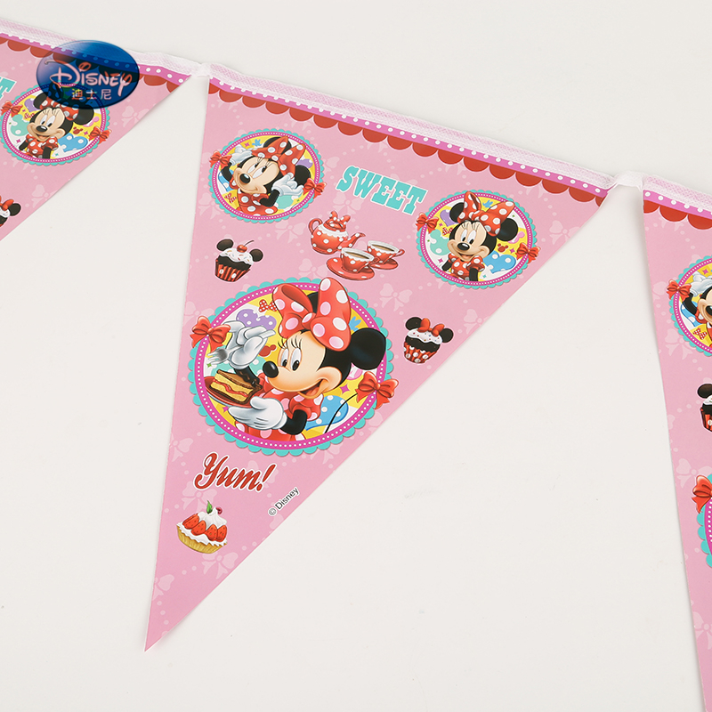 Disney Cartoon Minnie Mouse 2.8M Flag 1set Banner Including 12pcs Pennants Kids Happy Birthday Party Supplies Decoration