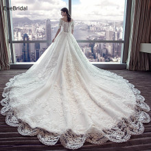 luxurious Wedding Dress Netting V Neck Half Sleeve Applique Floor length Chapel Train Bridal Gown v neck half sleeve tea length dress