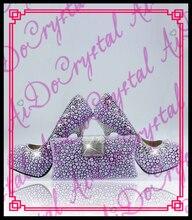 Aidocrystal Luxury New Women Genuine Leather Glitter Royal purple Crystal High Heels Rhinestone Wedding Shoes And Matching Bags