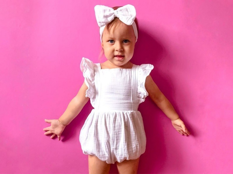 HTB1 DuGe.GF3KVjSZFmq6zqPXXaX Organic Cotton Baby Girl Clothes Summer New Double Gauze Kids Ruffle Romper Jumpsuit Headband Dusty Pink Playsuit For Newborn 3M