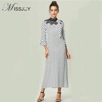 MISSJOY Elegant Long Dresses Women Flare Sleeve Polka Dot Printed Mesh Lace Patchwork abaya indonesia maxi dress robe muslim