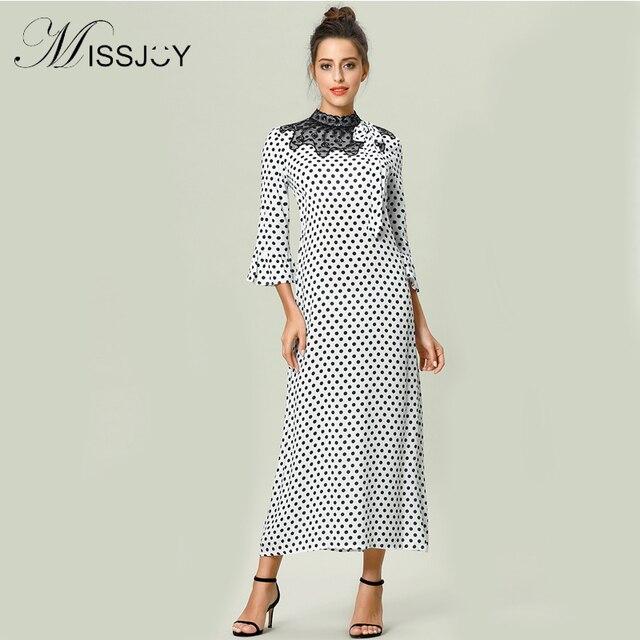 a3568ae08a MISSJOY Islamic Clothing Turkish Abaya Prayer Dress Muslim Flare Sleeve  Polka Dot Printed Lace Patchwork Indonesia maxi dress