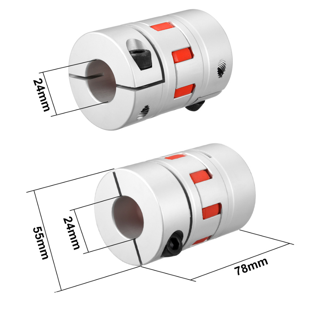 UXCELL New Arrival 1PCS L78xD55 Servo Stepped Motor M8 24mm to 24mm Shaft Coupling Bore Flexible Coupler Joint Wear Resistant uxcell hot sale 1pcs l55xd40 servo stepped motor m6 12mm to 19mm shaft coupling bore flexible coupler joint wear resistant