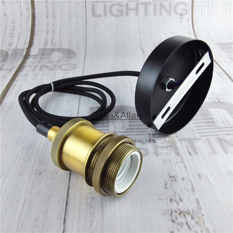 Free shipping matt brass DIY pendant lamp fixture with wire E27 ceramic socket+ceiling plate Edison pendant light AC110V/220V abs matte chrome interior accessory gear shift panel trim car sticker for land rover discovery sport 2015 2016 car styling