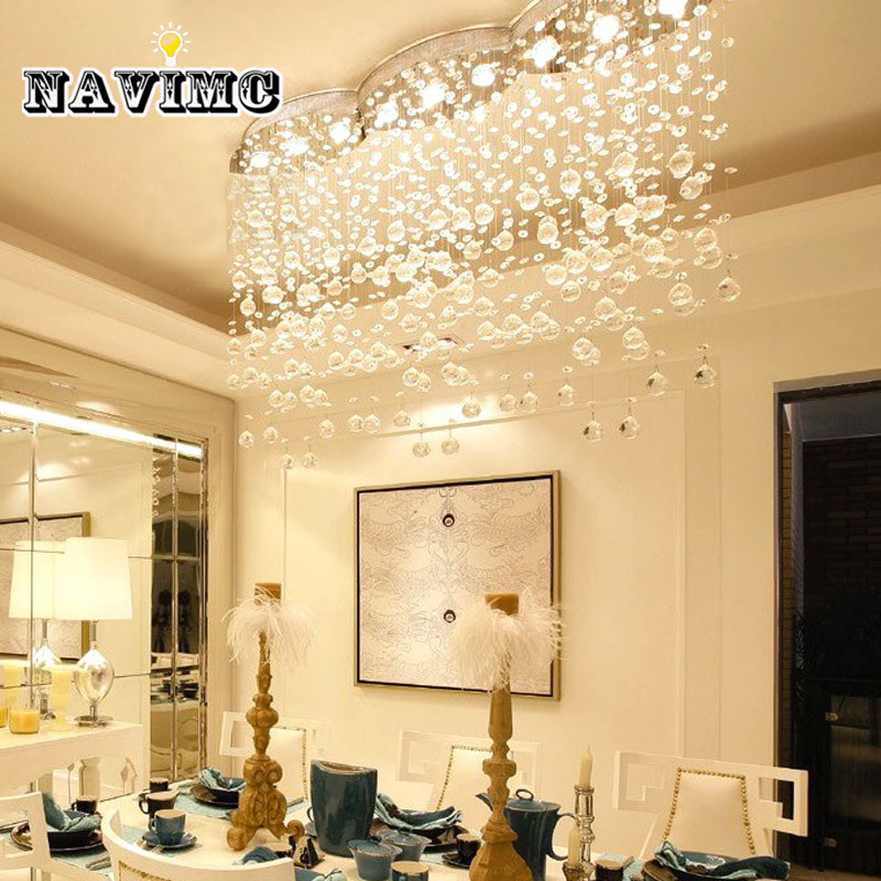 Modern Large Rectangular Curtain Wave Crystal Chandelier
