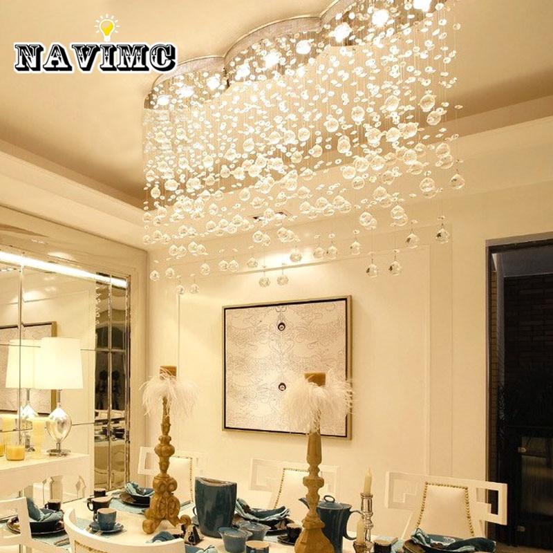 Modern Large Rectangular Curtain Wave Crystal Chandelier