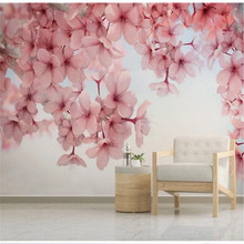 Custom wallpaper mural modern beautiful cherry blossom pink floral wall decoration painting
