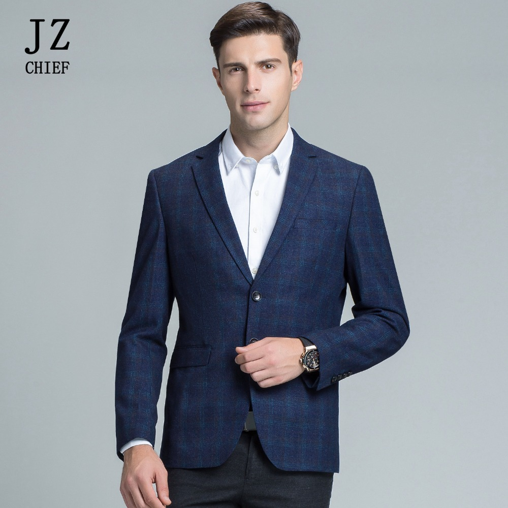 Hot Sale Jz Chief Plaid Blazer Men Smart Casual Jacket Wedding Suit