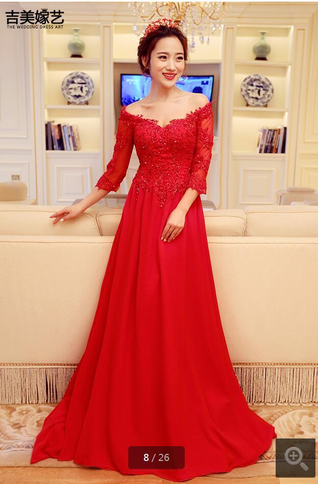 2016 nouveau design une ligne dentelle appliques perlée robe de bal de l'épaule formelle robes de bal 3/4 manches robes de bal offre spéciale - 4